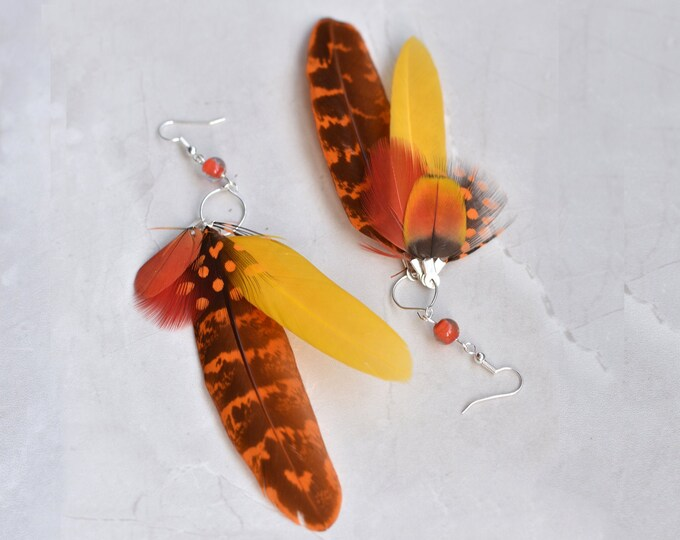 Statement Feather Tassel Earrings in Yellow and Orange No.004