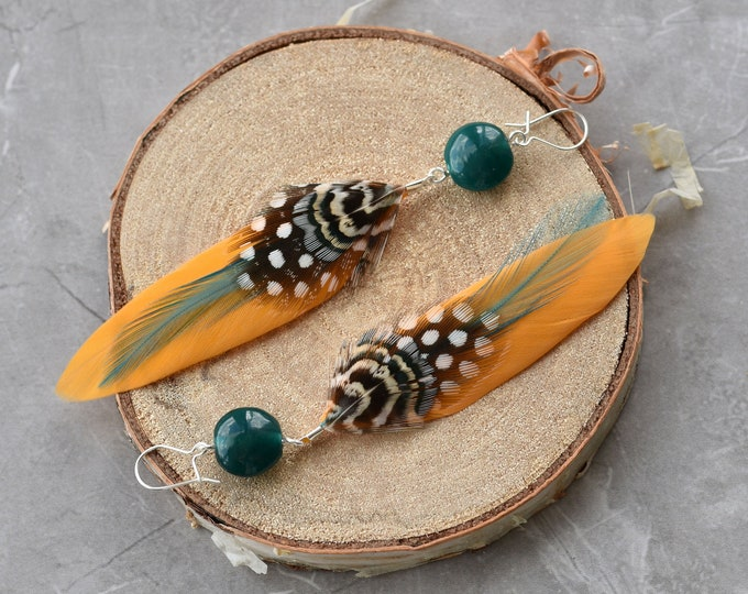 Mustard Yellow and Teal Feather Earrings