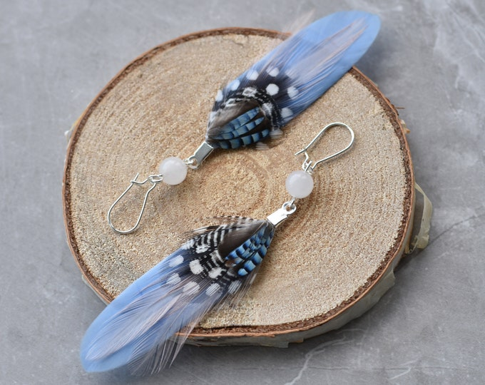 Rose Quartz and Pastel Blue Feather Earrings