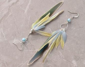 Pastel Blue and Yellow Feather Earrings No.35