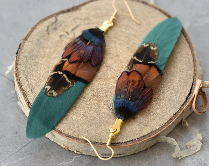Teal and Copper Pheasant Feather Earrings