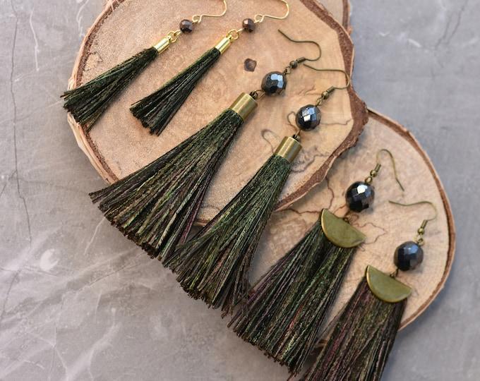 Peacock Feather Tassel Earrings