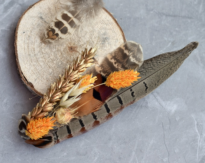Harvest Gold Large Pheasant Feather Lapel Pin with Dried Flowers