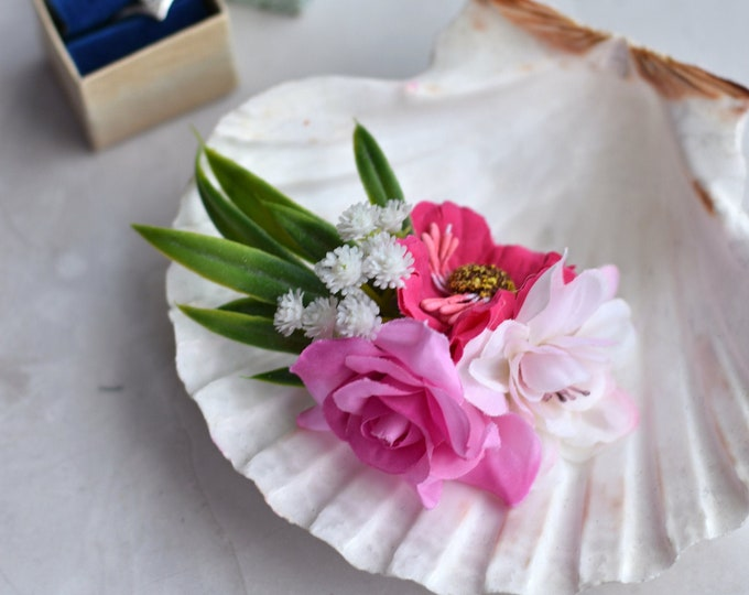 Flower Hair Clip in Pink and White