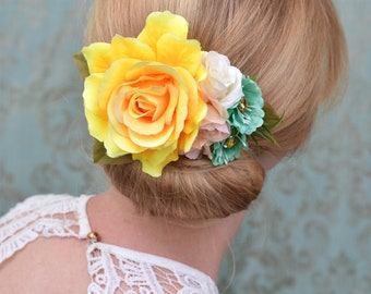 Yellow, Peach and Turquoise Rose Flower Hair Clip