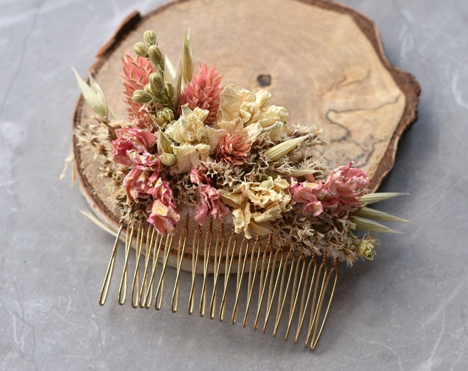 Dried Flower Hair Comb in Pink and Ivory