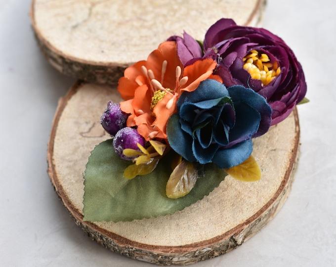 Silk Flower Hair Clip in Plum Purple, Navy Blue and Burnt Orange