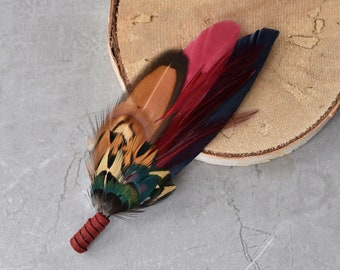 Navy and Burgundy  Feather Lapel Pin / Hat Pin