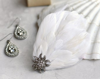 Soft White Bridal Feather Hair Clip with Silver Marcasite Sunburst