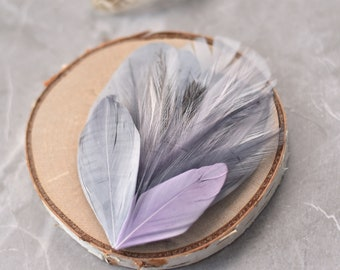 Unique Feather Hair Clip in Lilac and Silver Grey No.10