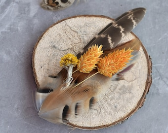 Pheasant Feather Lapel Pin with Golden Yellow Dried Flowers