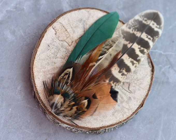 Bottle Green and Copper Pheasant Feather Lapel Pin
