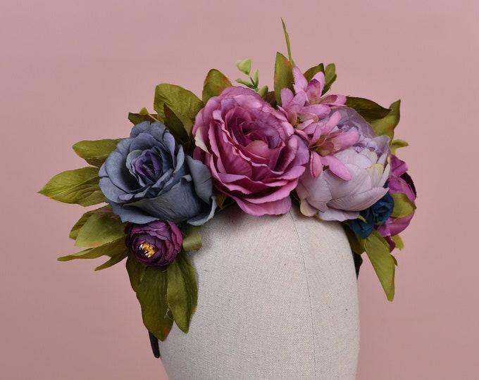 Hera - Blue and Purple Autumn Flower Crown Headpiece