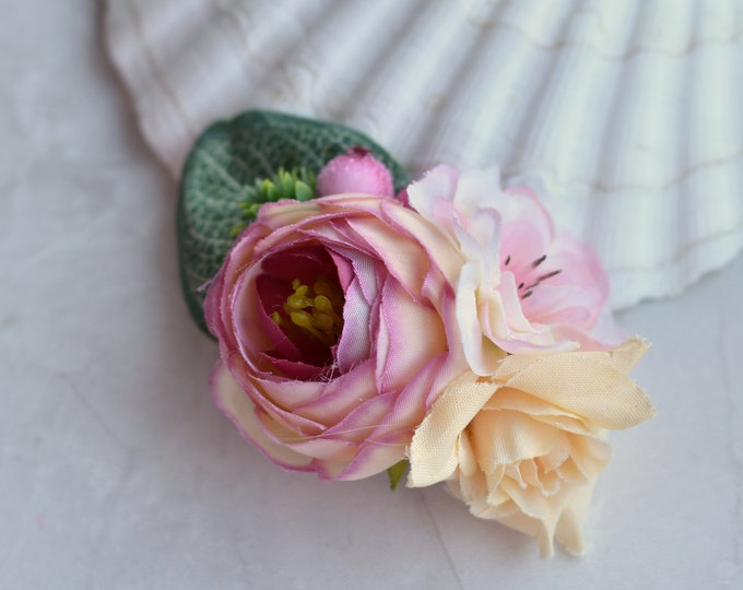 Silk Flower Hair Clip in Pink and Ivory