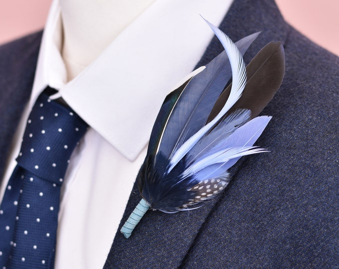Shades of Blue Feather Lapel Pin No.113