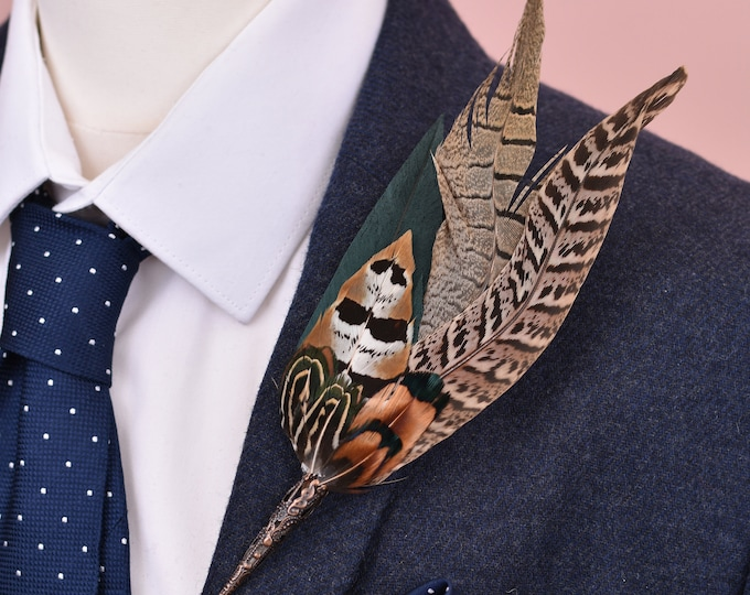 Green and Pheasant Large Feather Lapel Pin No.2