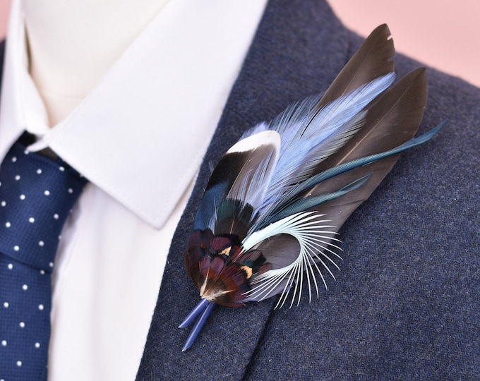 Blue Feather Lapel Pin No.93