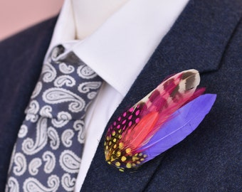 Small Pink, Yellow and Purple Feather Hat Pin / Lapel Pin  No.50