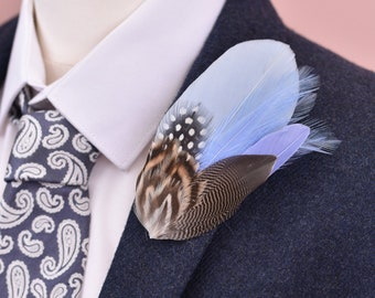 Pastel Blue and Duck Feather Lapel Pin