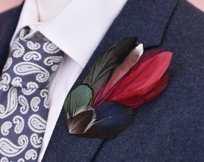 Burgundy Feather Hat Pin No.46