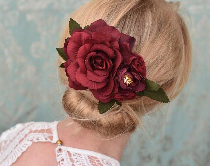 Crimson Red  Rose Flower Hair Clip