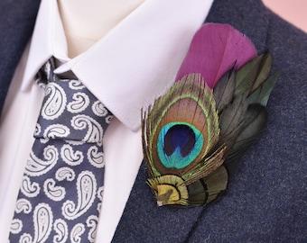 Plum Purple andPeacock Feather Lapel Pin
