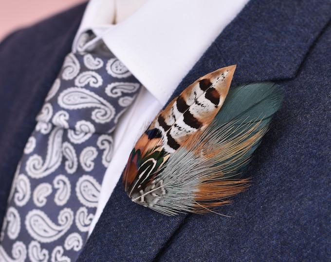 Green Pheasant Feather Lapel Pin No.31