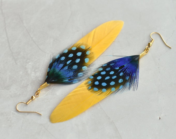 Yellow and Blue Feather Earrings