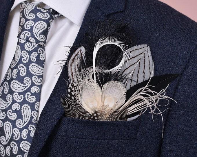 Monochrome Feather Pocket Square No.27