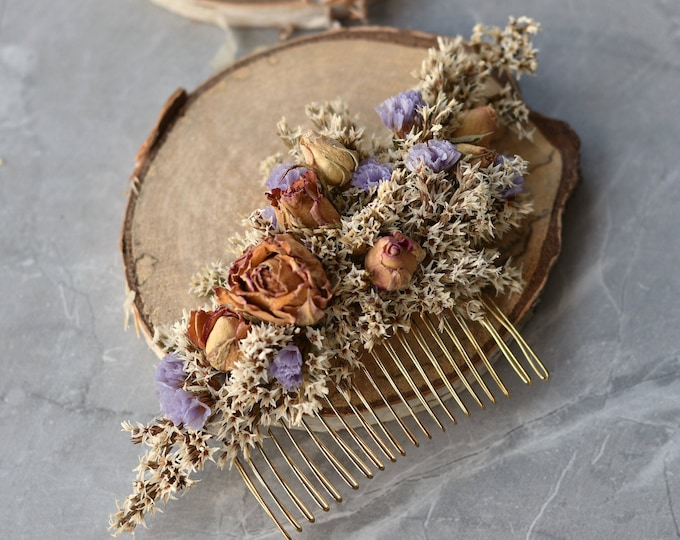 Dried Flower Hair Comb in Ivory, Lilac and Pink Roses