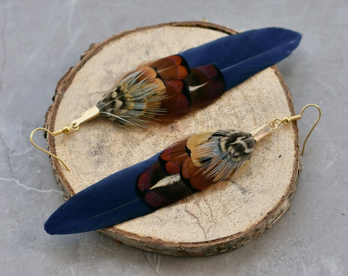 Navy Blue and Copper Pheasant Feather Earrings