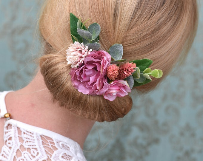 Pink Rose and Peony Hair Clip