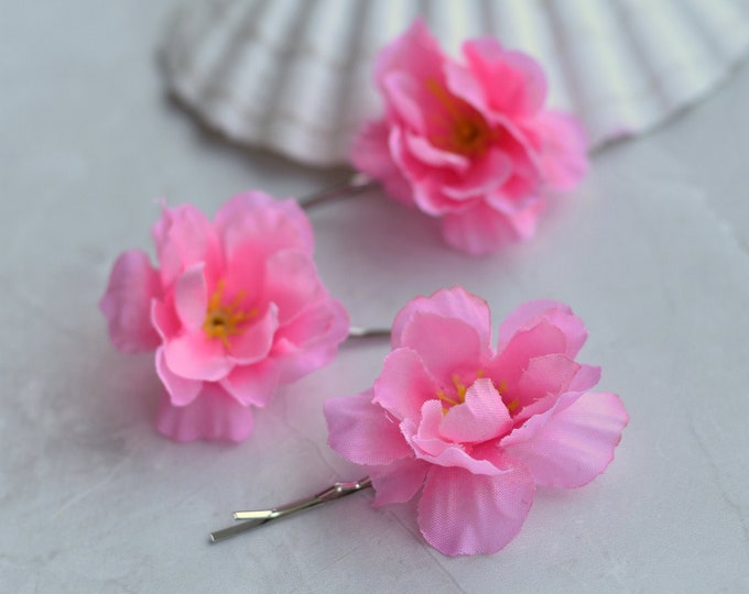 Set of 3 Pink Cherry Blossom Bobby Pin Hair Slides