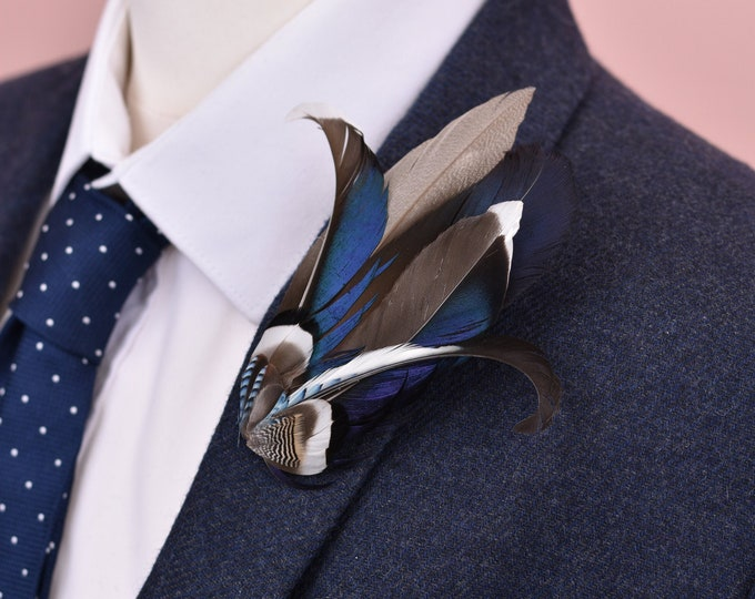 Navy Blue and Monochrome Duck Feather Lapel Pin Brooch No.33