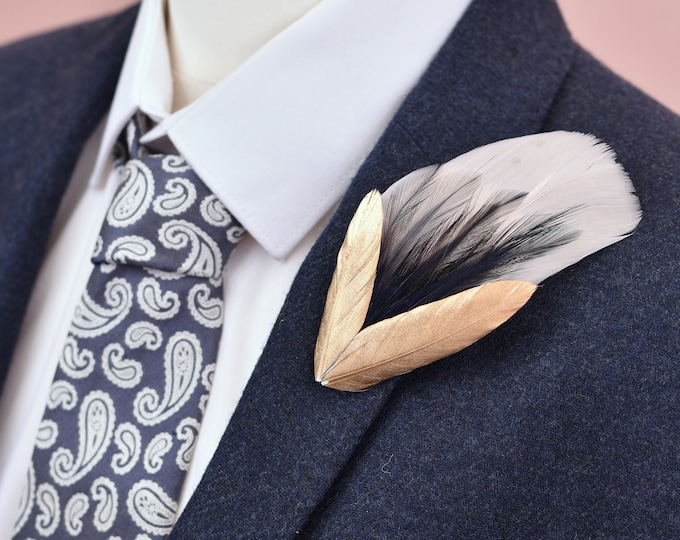 Feather Lapel Pin in Peach Blush, Navy and Gold