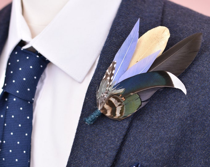 Blue and Gold Feather Lapel Pin No.91
