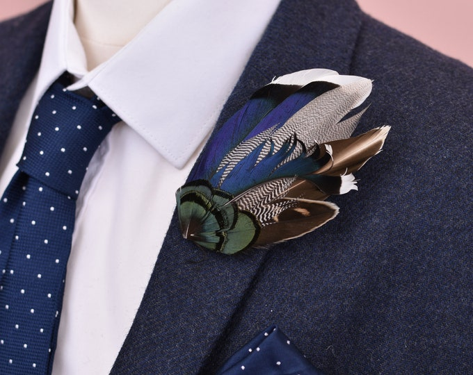 Navy Blue Duck Feather Lapel Pin Brooch No.32