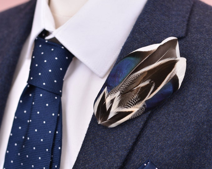 Navy Blue and Monochrome Duck Feather Lapel Pin Brooch No.19