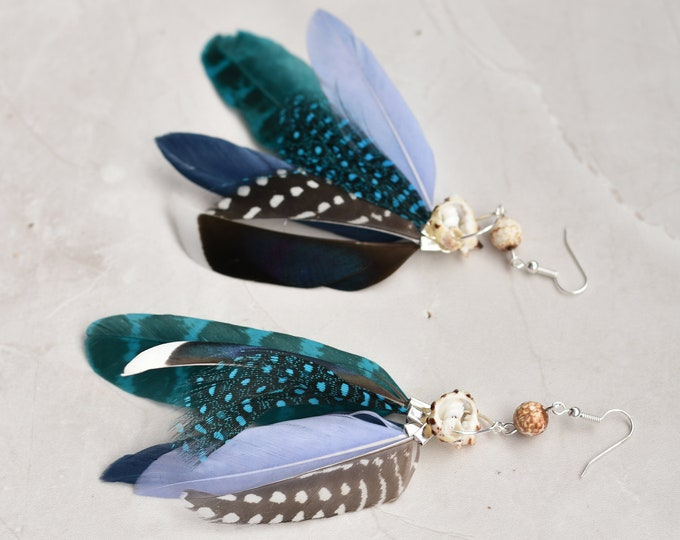 Statement Blue and Shell Bead Tassel Earrings No.026