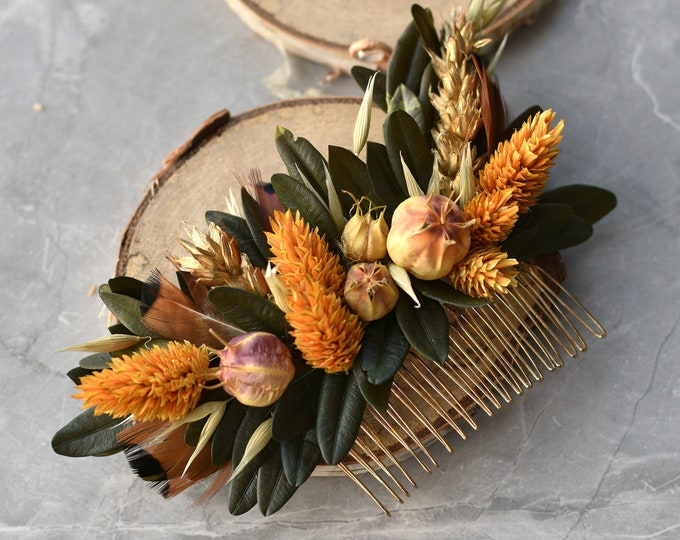 Harvest Gold Dried Flower Hair Comb in Copper and Gold