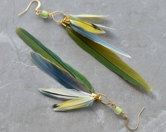 Yellow, Blue and Green Feather Earrings No.26