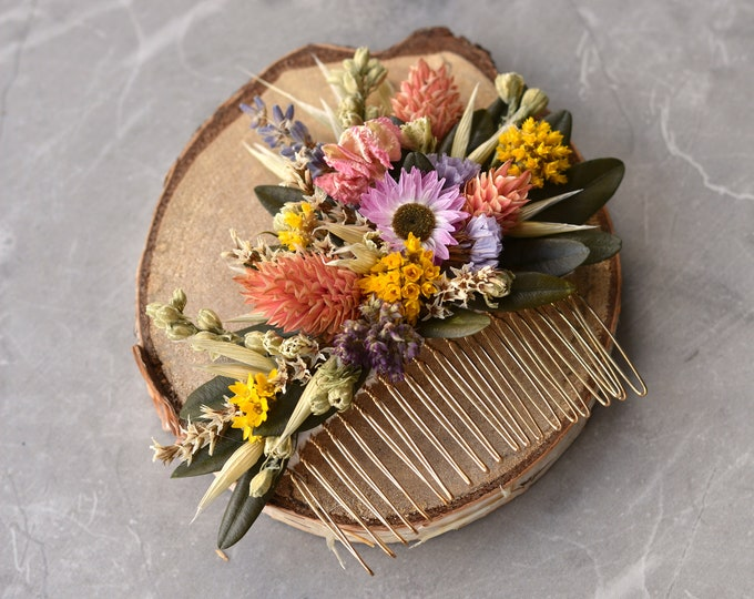 Spring Meadow Dried Flower Hair Comb in Pink and Yellow