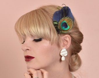Navy Blue and Peacock Eye Feather Hair Clip Fascinator