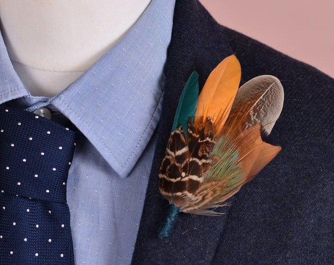 Teal Green, Mustard Yellow and Pheasant Feather Lapel Pin