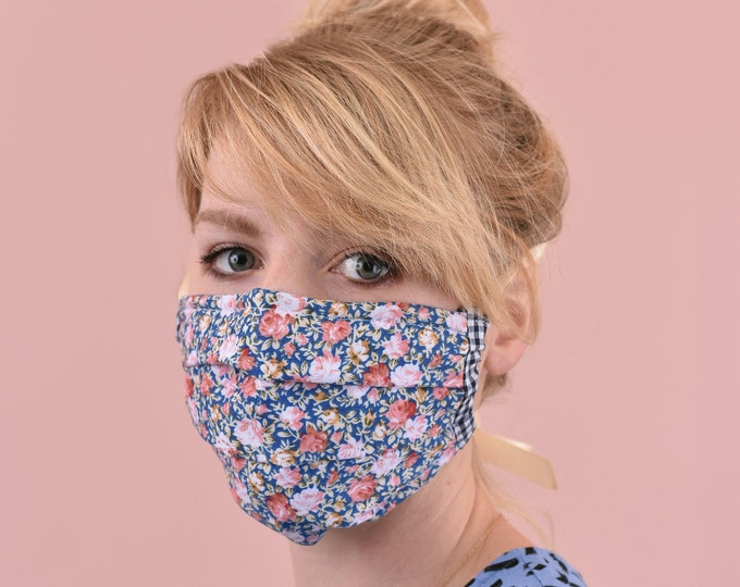 Reusable 3 Layer Cotton Cloth Face Mask with Nose Wires and Ties or Ear Elastics | Ready to Ship Made in UK | Washable | Face Covering