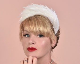 Soft White / Ivory / Oyster Spiked Feather Halo Headband