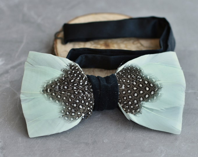 Feather Bow Tie in  Mint and Polka Dot