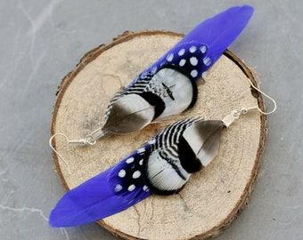 Royal Blue and Monochrome Pheasant Feather Earrings