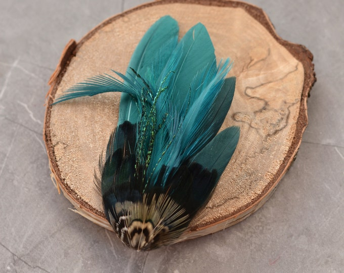 Teal and Navy Blue Pheasant Feather Hat Pin / Lapel Pin Small No.138
