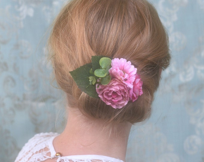 Bright Pink Peony, Rose and Daisy Flower Hair Clip